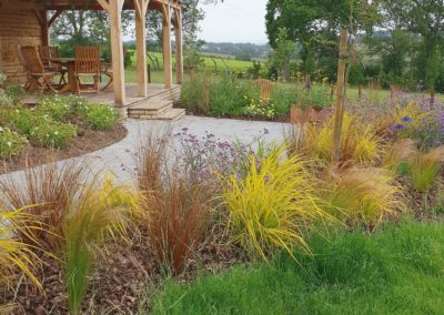porch garden paving and grasses